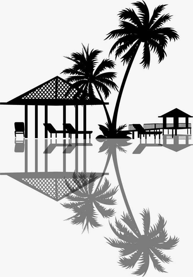 650x932 Vector Holiday Homes And Coconut Trees Reflection, Resort, Seaside