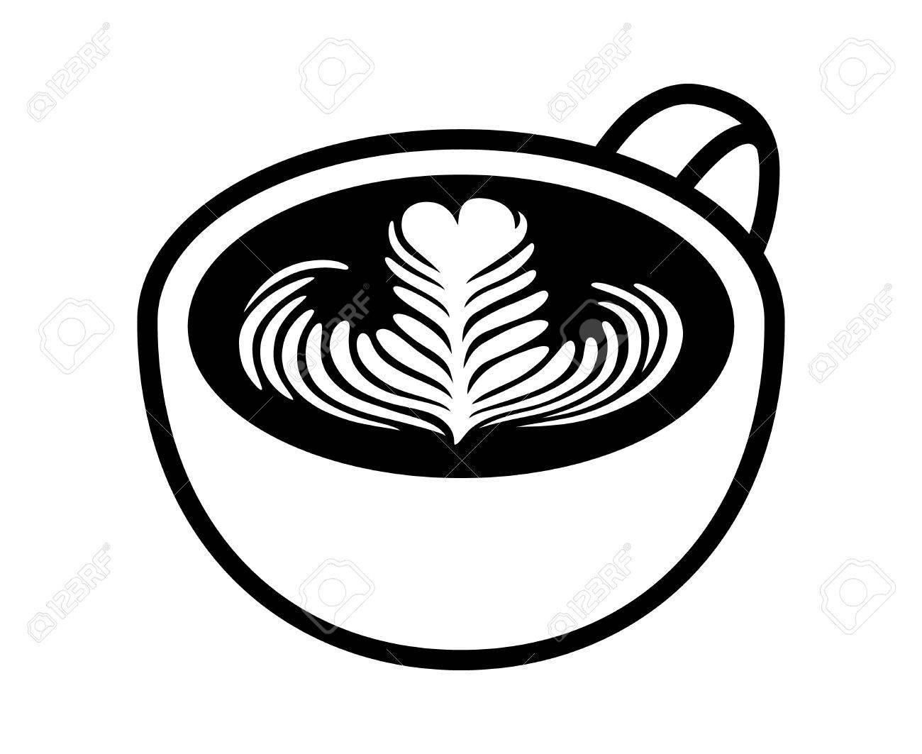 1300x1063 Cup Of Latte Espresso Art With Rosette Leaf Line Art Vector