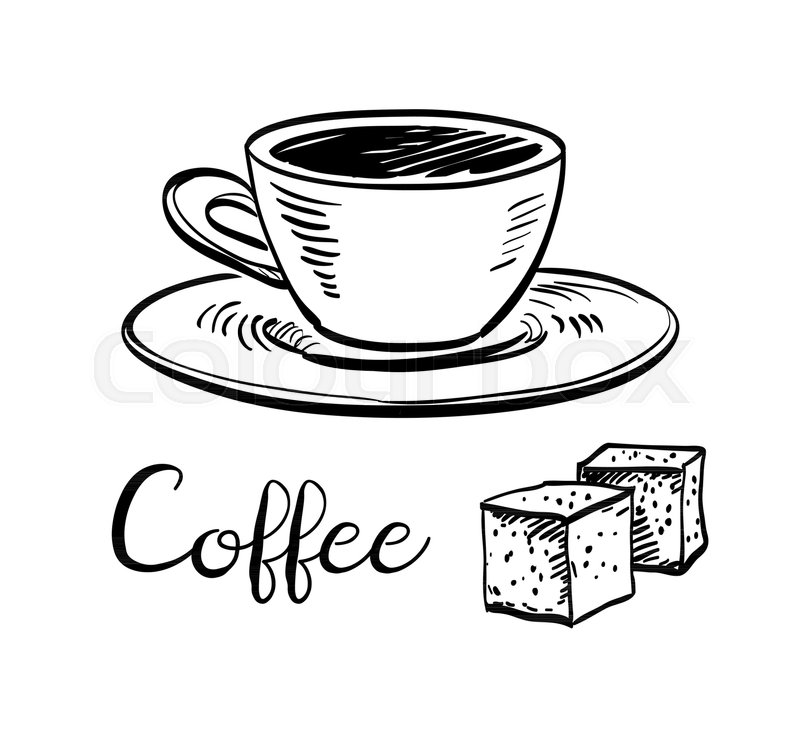 800x731 Cup Of Coffee And Sugar Cubes. Ink Sketch Isolated On White