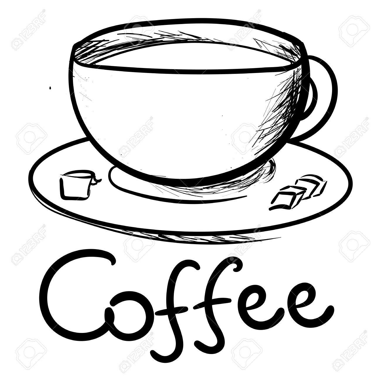 1300x1300 Hand Draw Coffee Cup An A White Background Royalty Free Cliparts