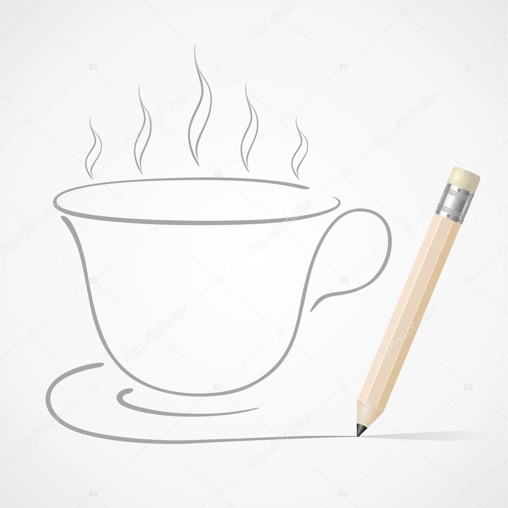 1024x1024 Pencil Drawing Coffee Cup Stock Vector Amorno