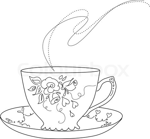 480x444 Free Sketch Of Fancy Tea Cup And Saucer Stock Vector