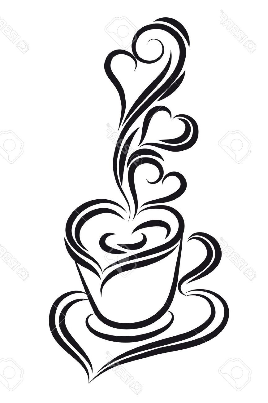 866x1300 Hd Black And White Coffee Cup Vector Swirl Curl Style Stock Design
