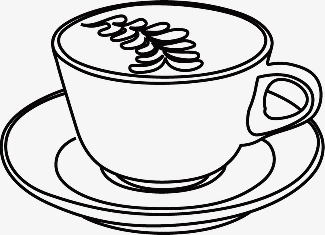650x469 Coffee Line Drawing Black And White Hand Painted PNG Image