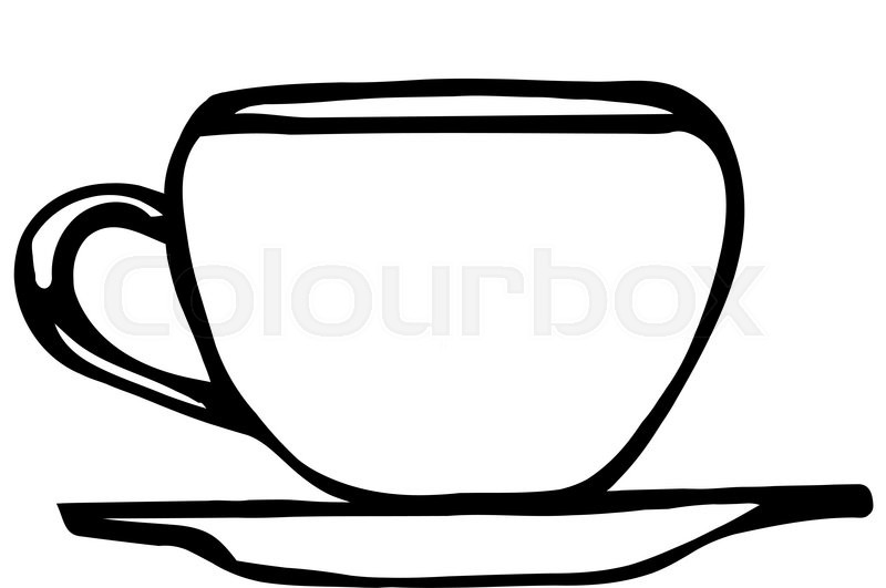 800x531 Black And White Vector Sketch Of A Porcelain Coffee Cup Stock