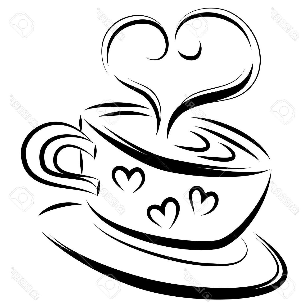 1300x1300 HD Love Coffee Line Art Vector Illustration Stock Image