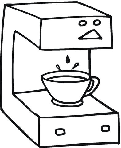 394x480 Coffee Machine Coloring Page Free Printable Coloring Pages