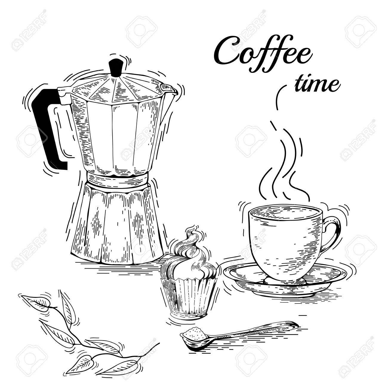 1300x1300 Hand Drawn Coffee Set. Coffee Maker. Vintage Coffee Posters