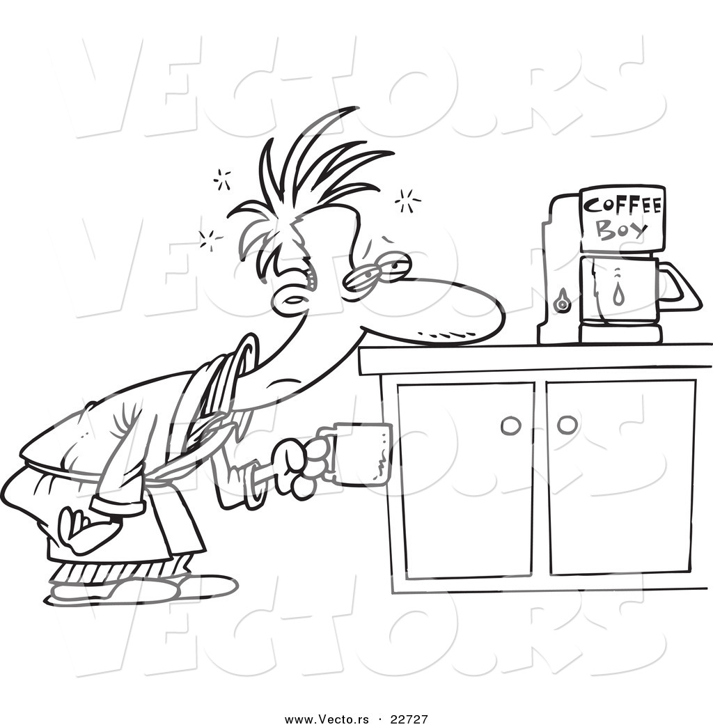 1024x1044 Vector Of A Cartoon Man Patiently Waiting For Coffee Maker