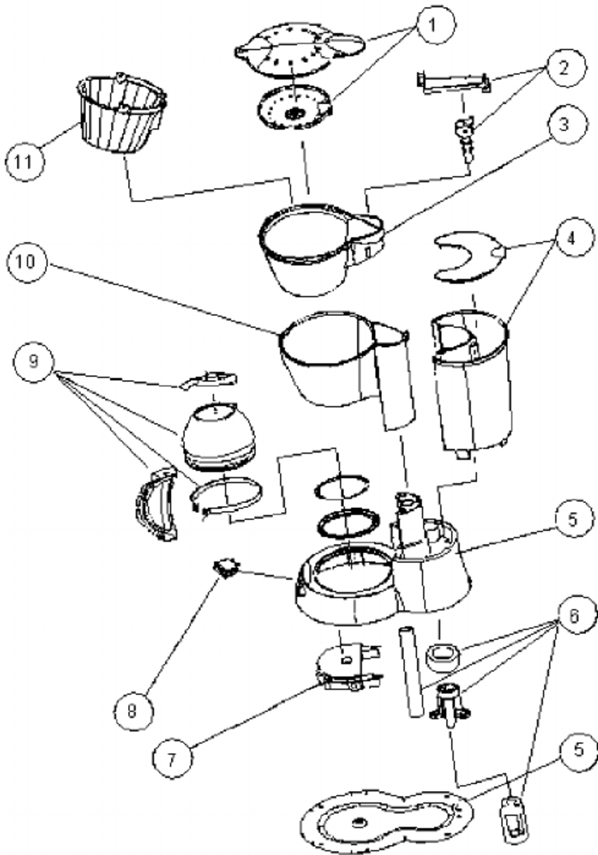 850x1215 Exploded View Of An Example Coffee Maker