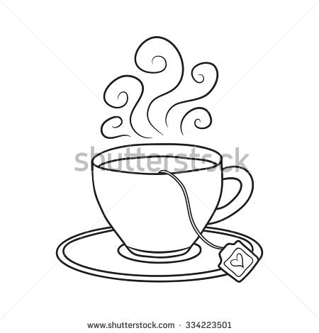 450x470 Drawn Tea Cup Line Drawing