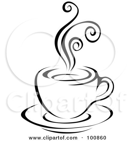 450x470 Clipart Of A Black And White Sketched Coffee Cup On A Saucer