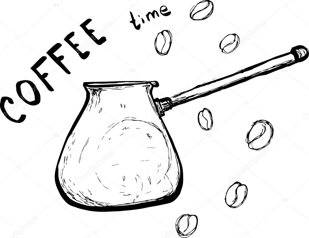 1023x788 Sketch Turkish Coffee Pot With Coffee Beans And Lettering Coffee