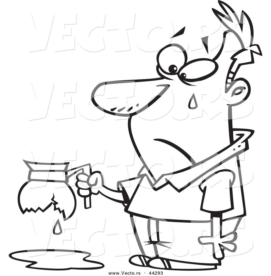 1024x1044 Vector Of An Upset Cartoon Tearing Man Holding A Broken Coffee Pot
