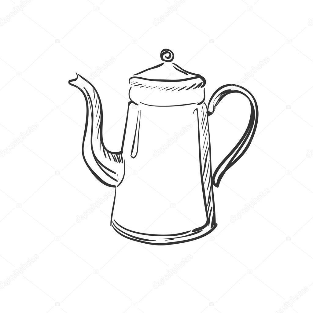 1024x1024 Doodle Coffee Pot Stock Vector C Netkoff
