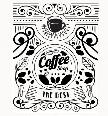 348x376 Coffee Shop Vinyl Wall Decal Shop Coffee Cup Flower Design Coffee