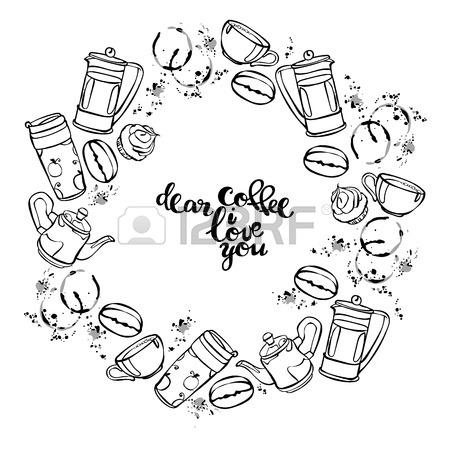 450x450 Dear Coffee, I Love You. Coffee Pattern. Coffee Pot And Coffee