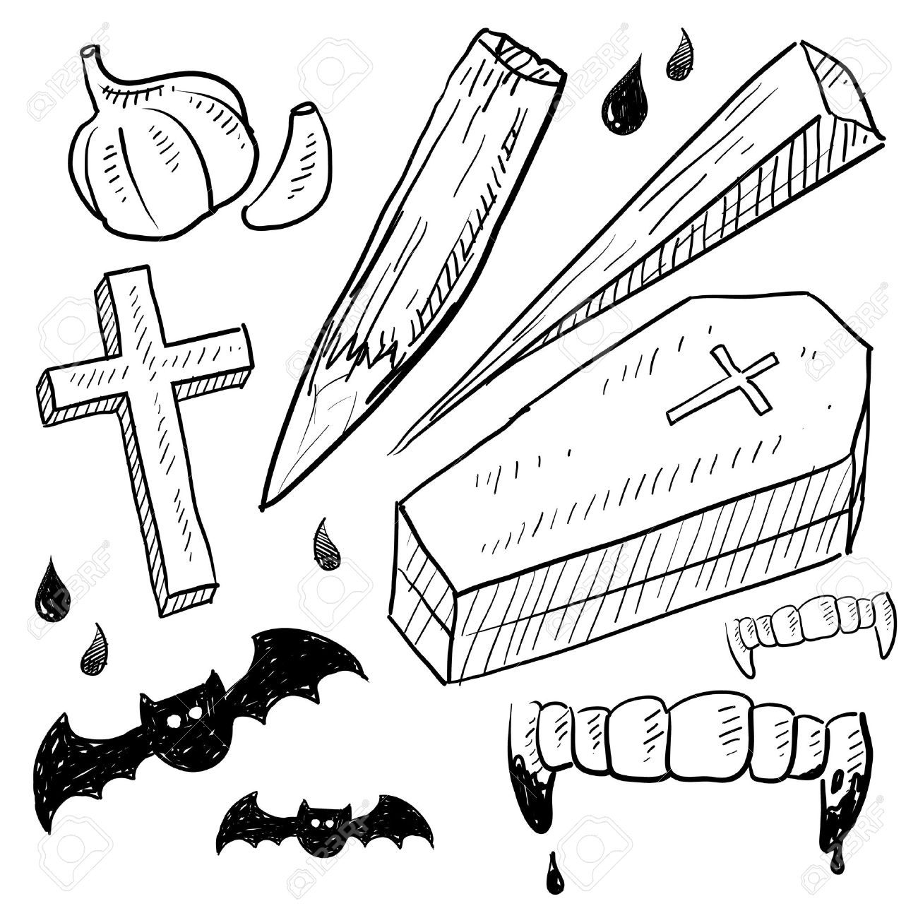 1300x1300 Doodle Style Vampire Lore Set In Vector Format Includes Coffin