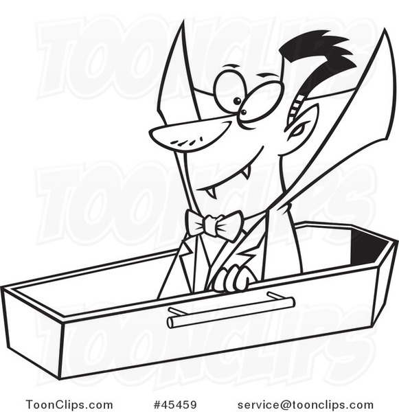581x600 Outlined Cartoon Halloween Vampire Dracula Rising From His Coffin