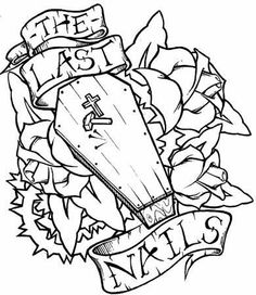 236x272 Tattoo Designs Skull Heart Coffin And Roses Outline Tattoos