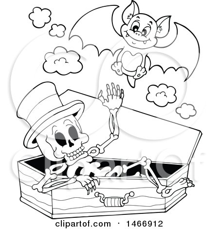 450x470 Clipart Of A Black And White Skeleton In A Coffin And Vampire Bat
