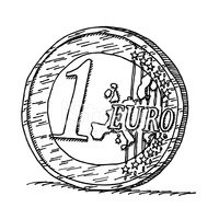 200x200 One Euro Coin Drawing Stock Vectors
