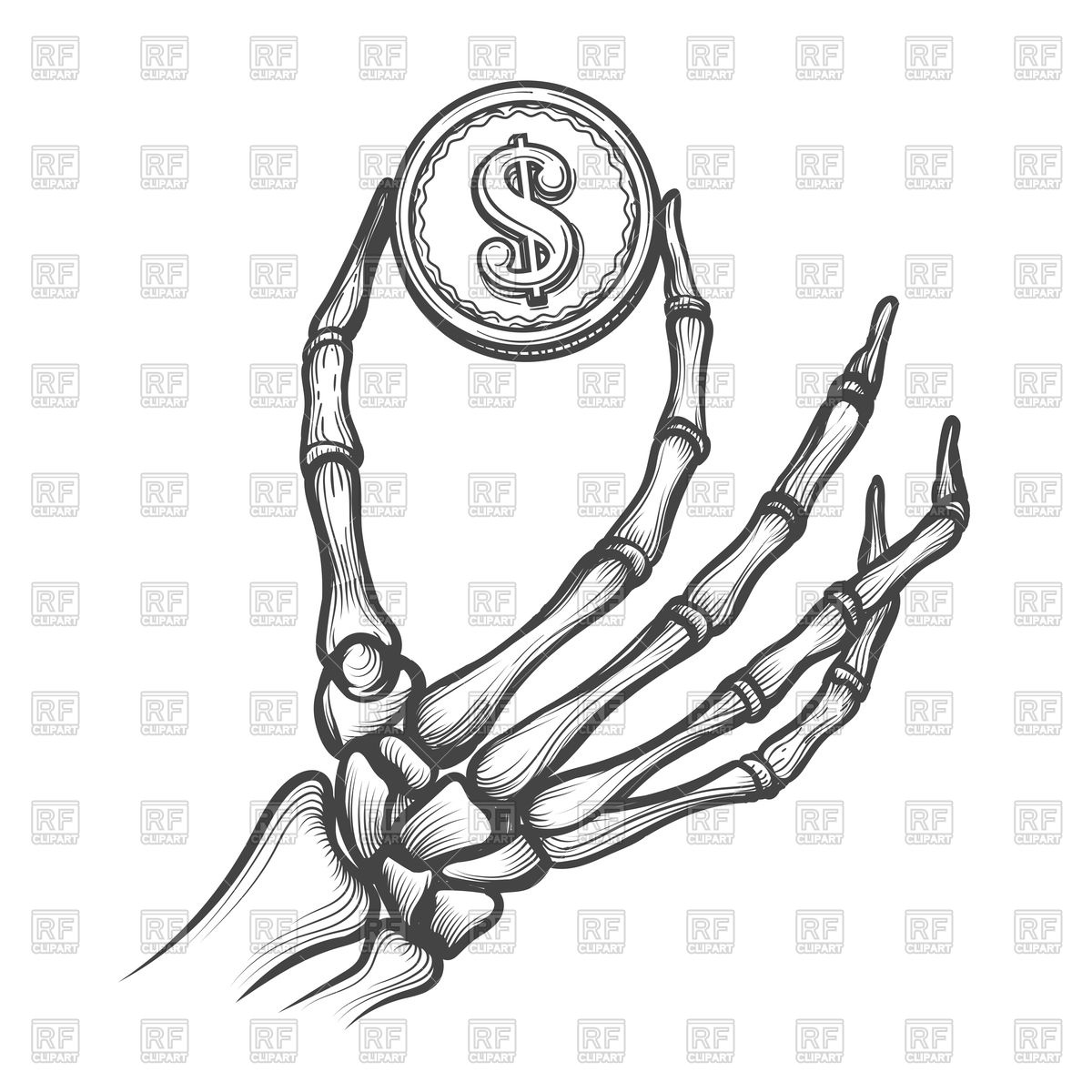 1200x1200 Skeleton Hand With Coin Hand Drawn Royalty Free Vector Clip Art