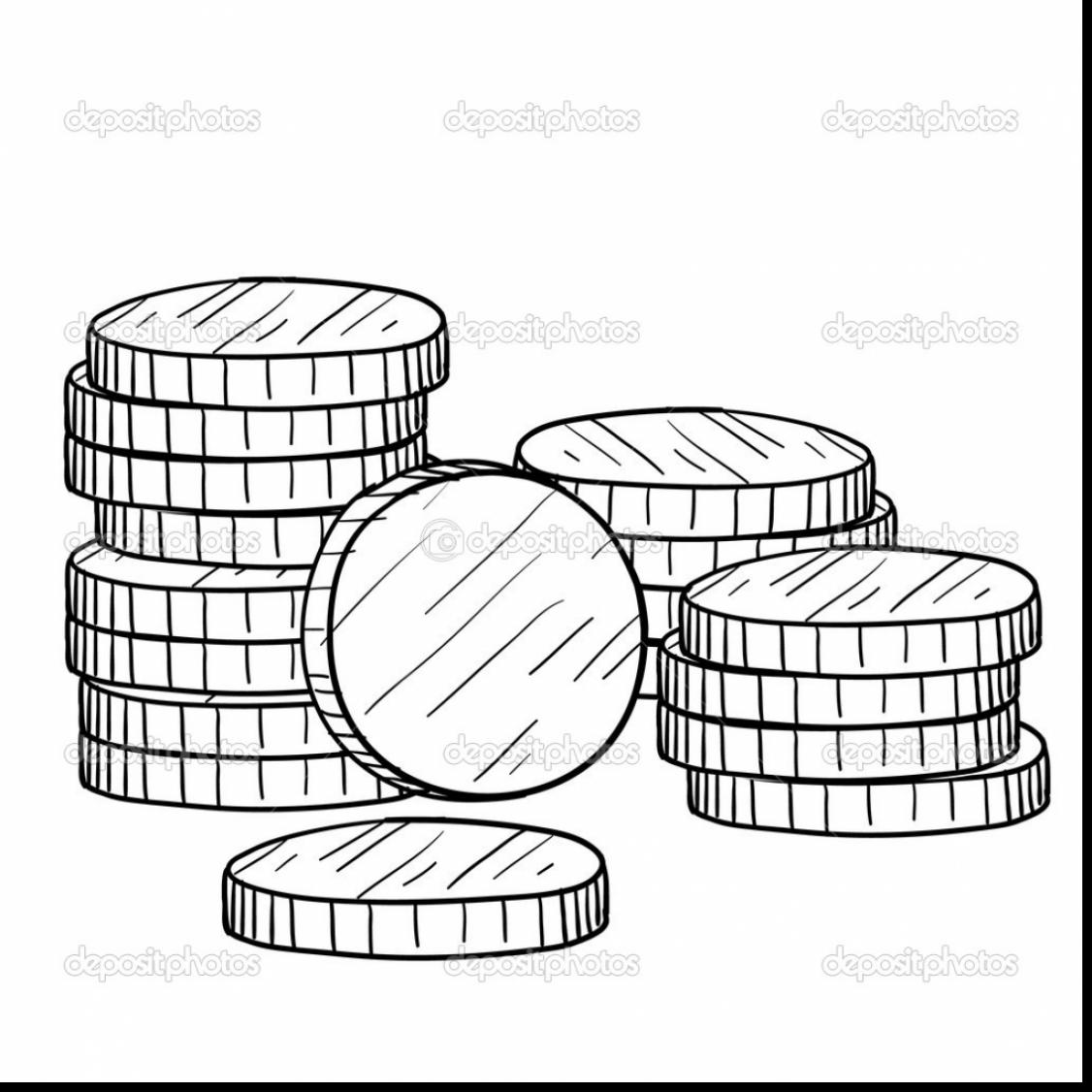 1126x1126 Remarkable Stack Of Coins Drawing With Money Coloring Pages