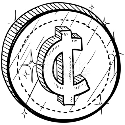440x440 Cent Currency Symbol On Coin Sketch Stock Vector