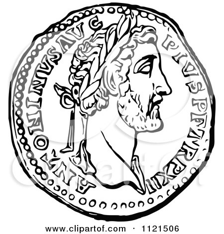 450x470 Clipart Of A Retro Vintage Black And White Roman Coin