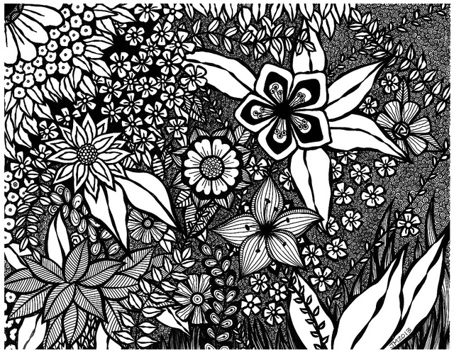 640x498 Flower Collage Drawing Collage, Doodles And Zentangles