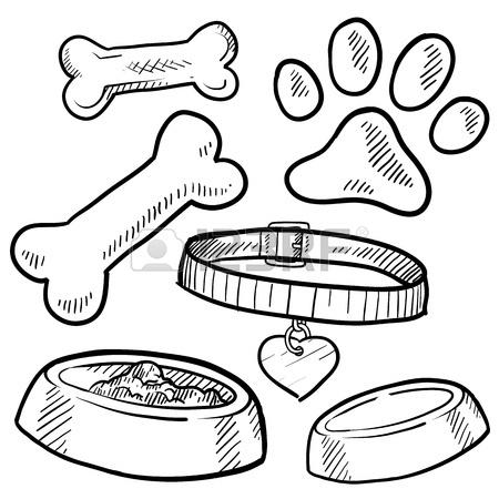 450x450 Doodle Style Pet Gear Sketch In Vector Format Set Includes Bones