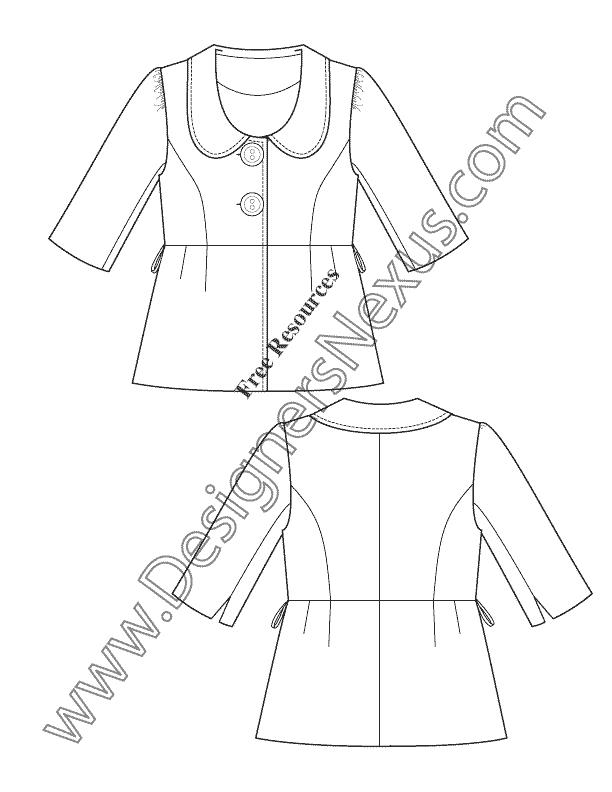 612x792 Free Downloads Illustrator Blazer Flat Sketches