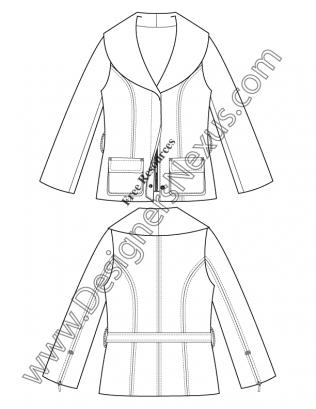 316x409 Shawl Collar Coat V52 Illustrator Flat Fashion Sketch Template