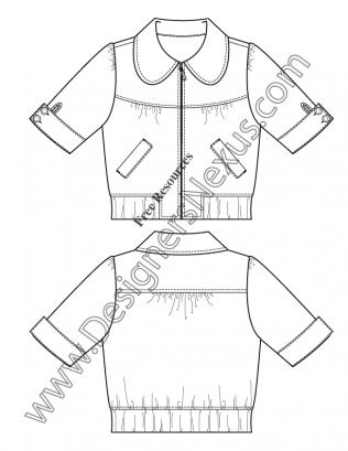 316x409 V24 Peter Pan Collar Jacket Flat Fashion Sketch Template Free