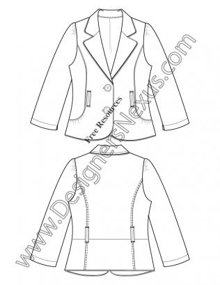 316x409 V58 Notched Collar Blazer Illustrator Flat Fashion Sketch