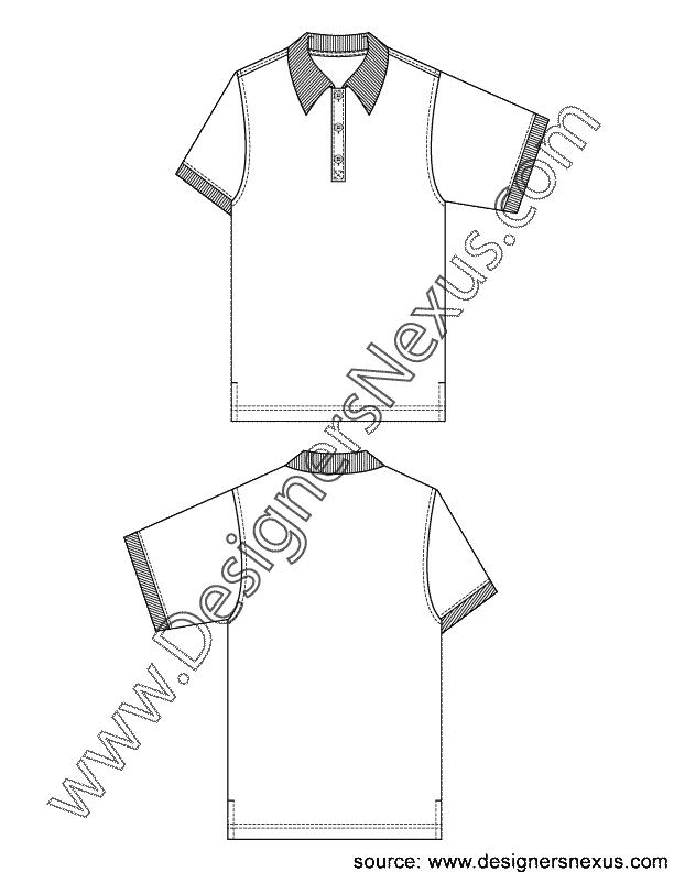 612x792 Mens Short Sleeve Polo Shirt V3 Fashion Technical Drawing