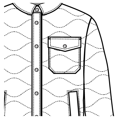 500x500 Onion Quilt Chest Pocket Flat Sketch For Down Filled Shirt Jacket