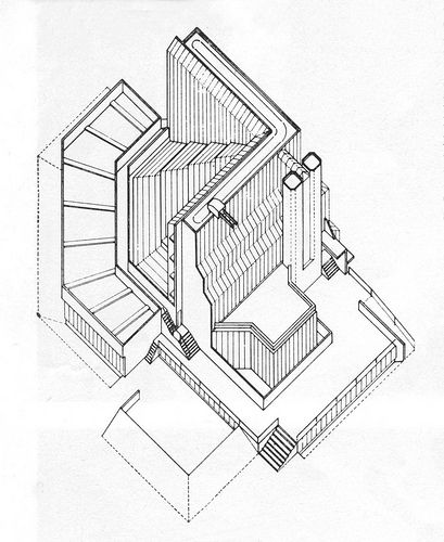 409x500 James Stirling, History Faculty [Cambridge] Drawing.