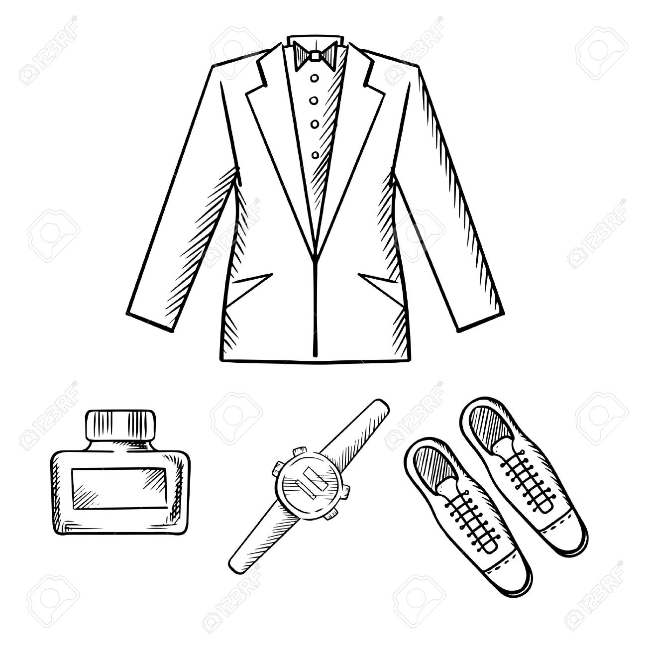 1300x1300 Male Formal Evening Outfit With Jacket, Shirt And Bow Tie, Elegant