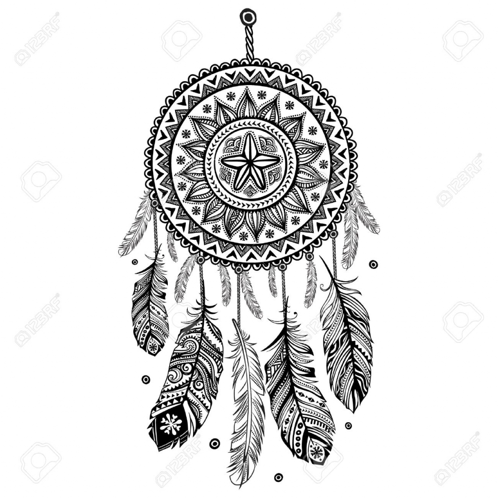 1024x1024 Drawing Of A Dreamcatcher Drawn Dreamcatcher Black And White