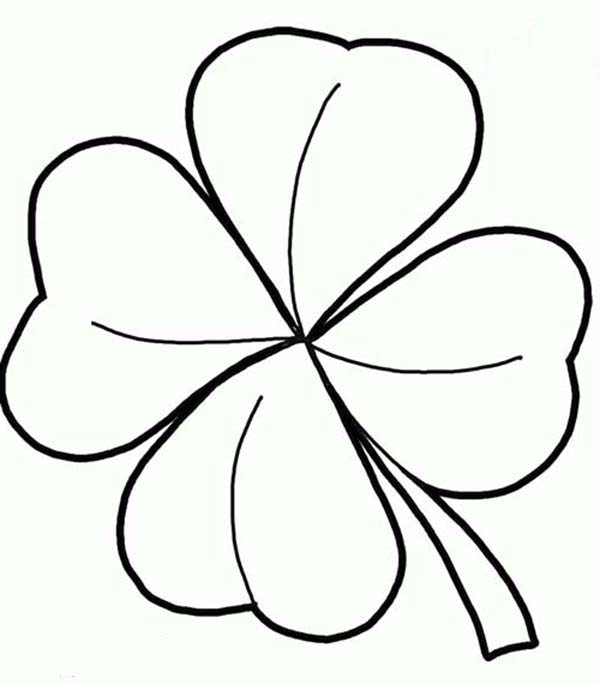 600x684 Realistic Drawing Of Four Leaf Clover Coloring Page Color Luna