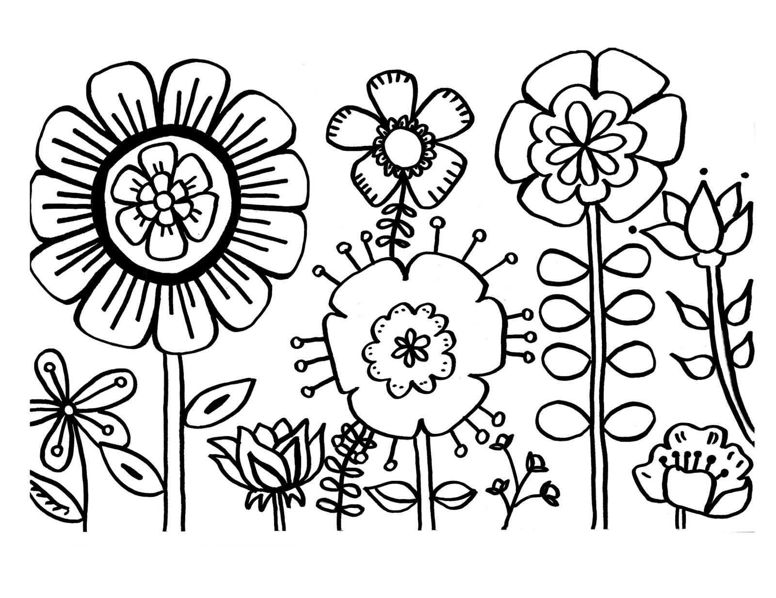 1600x1234 Flowers Coloring Page Colouring For Beatiful Draw Pict Kids
