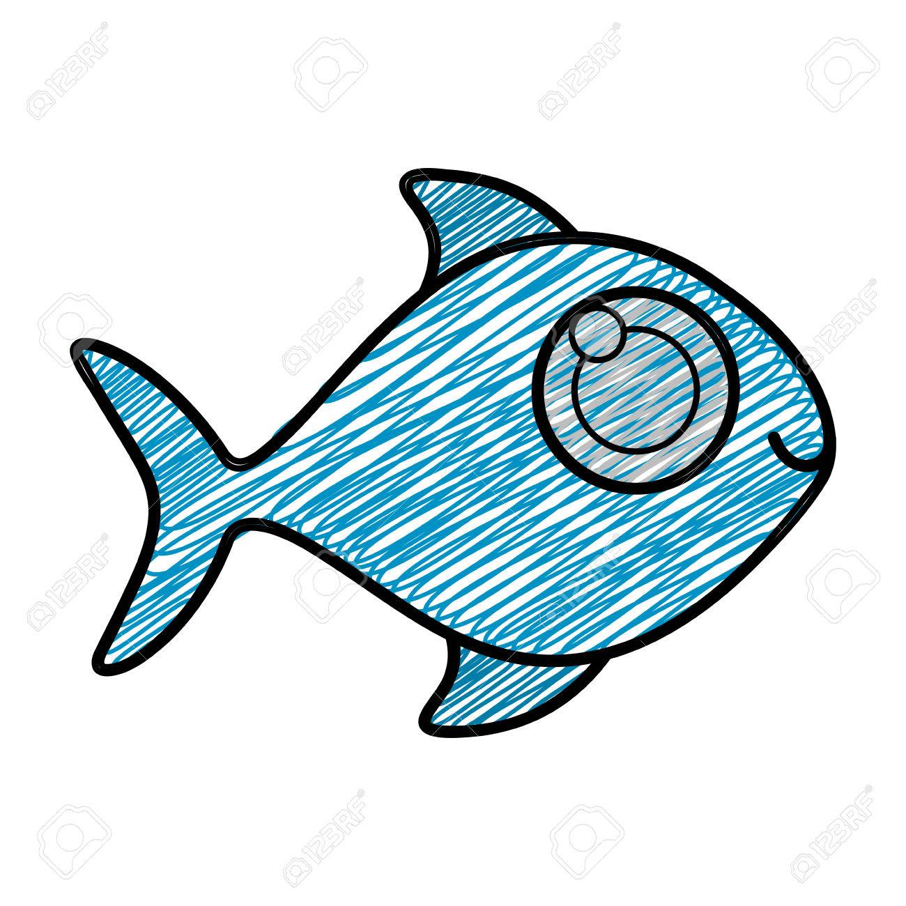 1300x1300 Color Pencil Drawing Of Fish Without Scales Vector Illustration