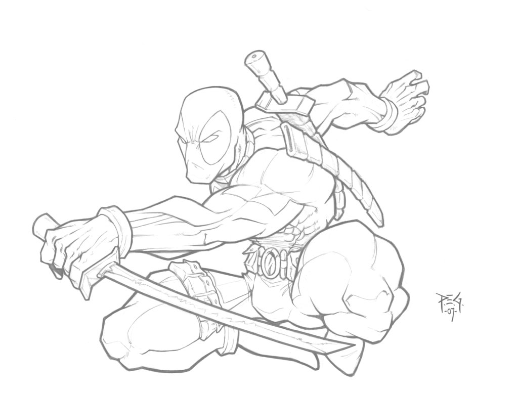 1024x777 Deadpool Pencils N Color Link By Madmagnus
