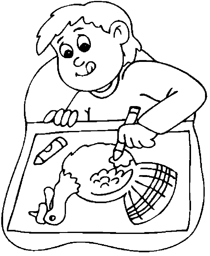675x823 Boy Drawing Turkey Coloring Page