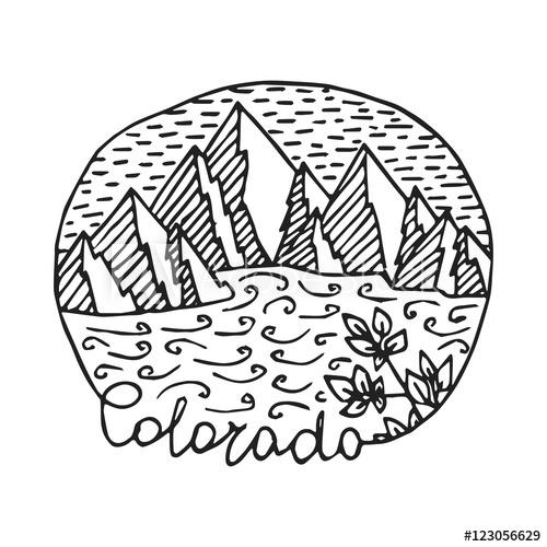 500x500 Isolated Vintage Colorado Logo Template. Colorado State Vector