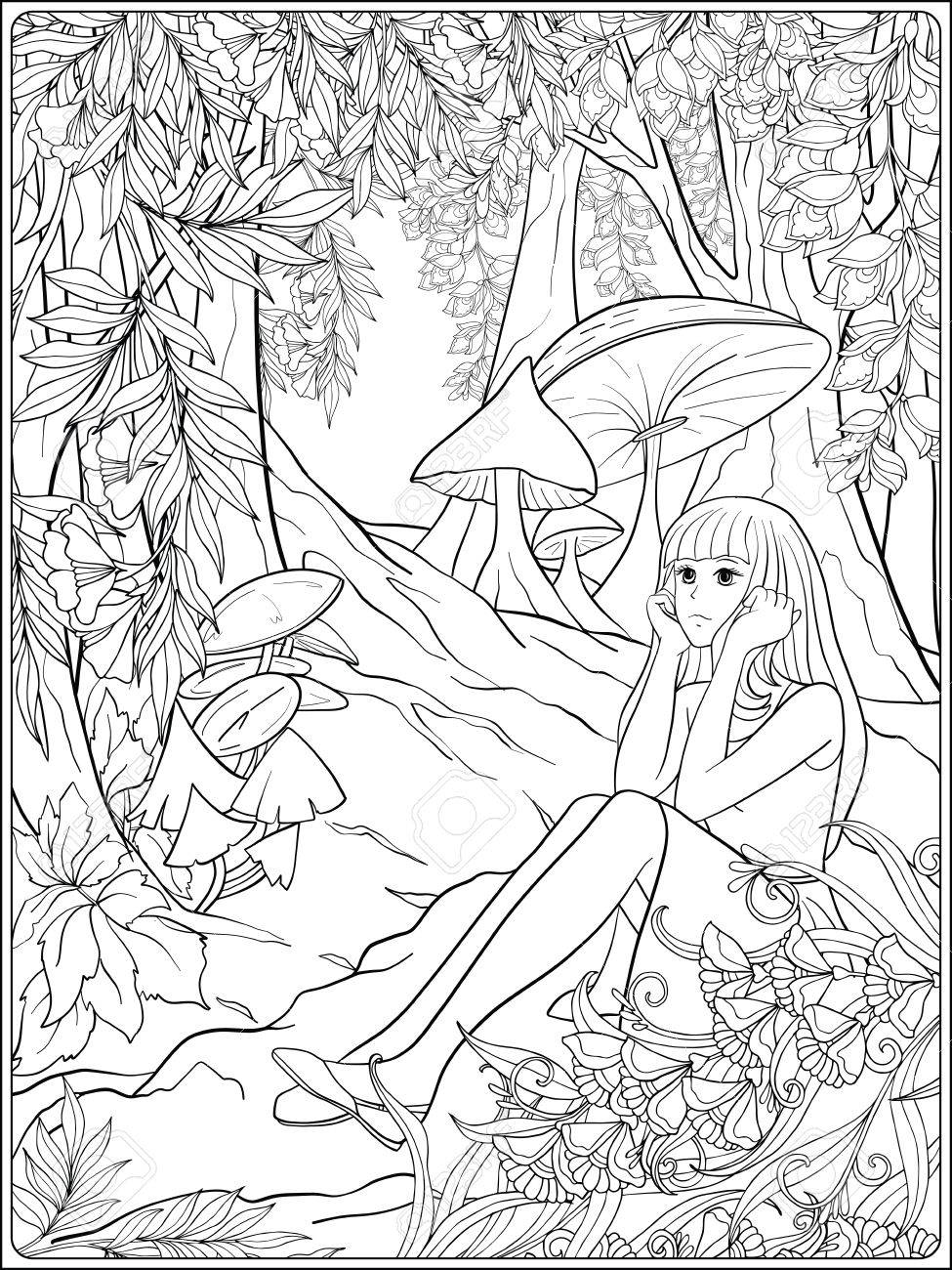975x1300 Girl Alice In The Woods In The Meadow With Trees And Mushrooms