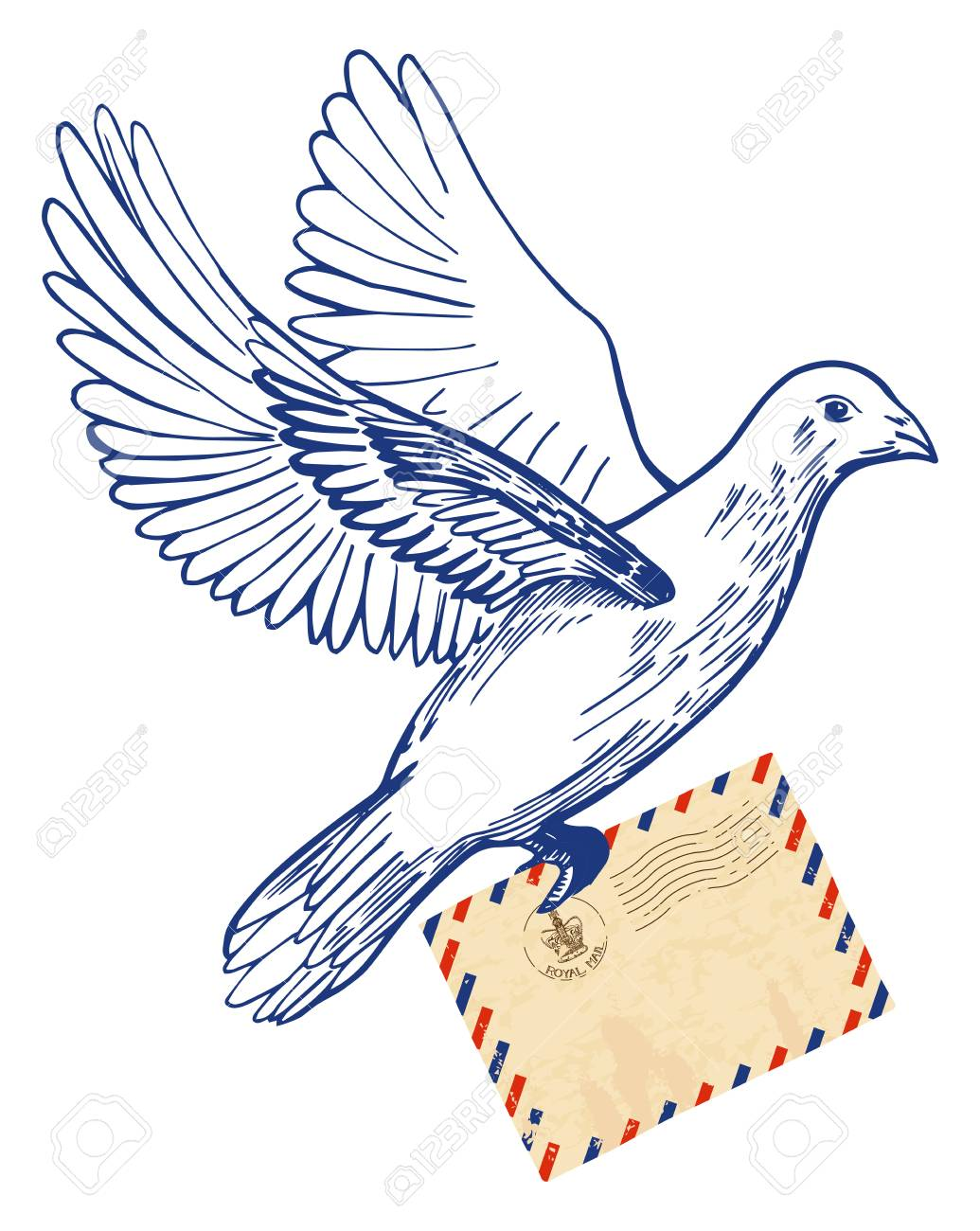 1035x1300 Vector Illustration Of Hand Drawn Postal Dove Holding Air Mail