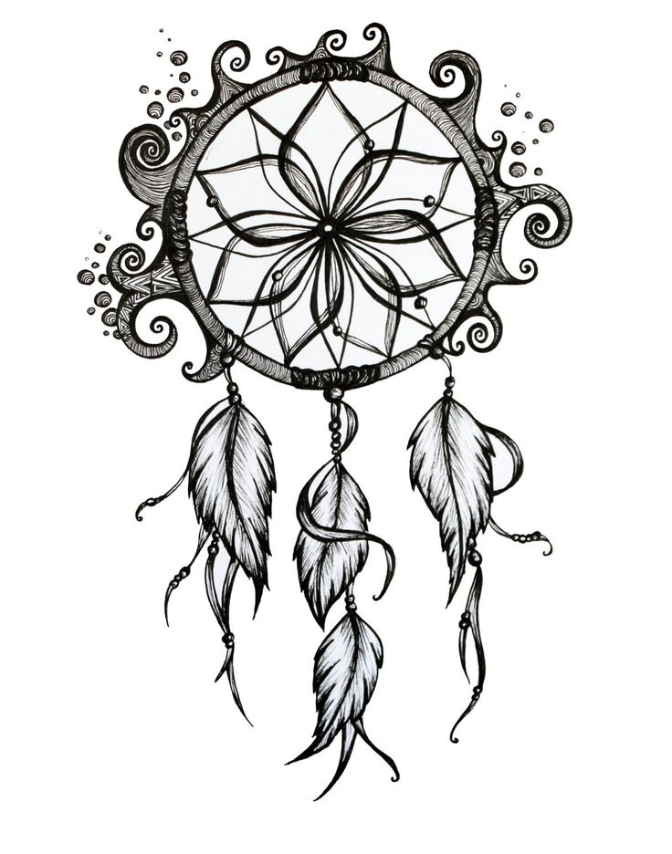 Colorful Dreamcatcher Drawing